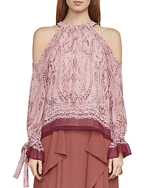 Bcbgmaxazria Sessilee Baroque Paisley Cold-Shoulder Top