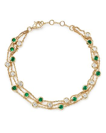 Bloomingdale's - Emerald & Diamond Station Bracelet in 18K Yellow Gold - 100% Exclusive