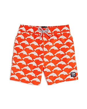 Tom & Teddy Boys' Dolphin Print Swim Trunks - Big Kid