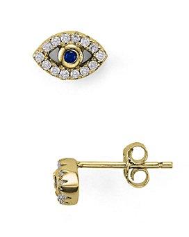 AQUA - Sterling Silver Evil Eye Stud Earrings - 100% Exclusive