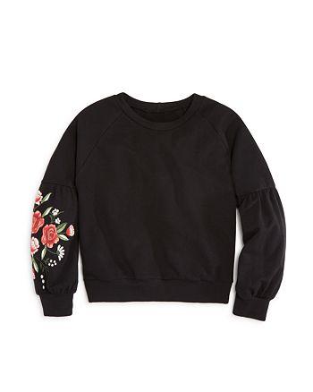 AQUA - Girls' Floral Balloon-Sleeve Sweatshirt, Big Kid - 100% Exclusive