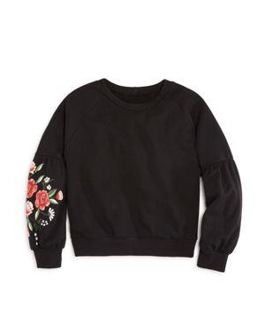 Aqua Girls' Floral Balloon-Sleeve Sweatshirt, Big Kid - 100% Exclusive