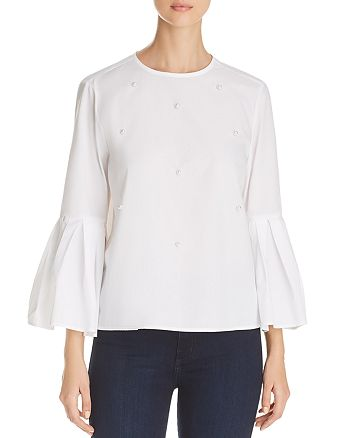 BeachLunchLounge - Embellished Bell-Sleeve Top