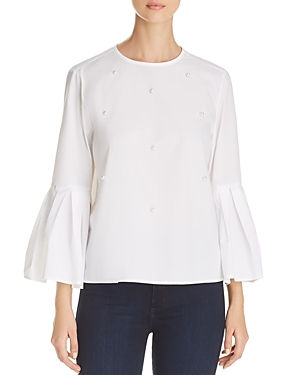 BeachLunchLounge Embellished Bell-Sleeve Top