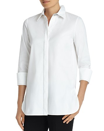 $Lafayette 148 New York Augusta Collar-Detail Shirt - Bloomingdale's