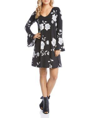 Karen Kane Floral Print Bell Sleeve Dress 2797447