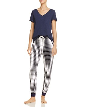 Jane & Bleecker New York - Short Sleeve V-Neck Tee & Striped Jogger Pants