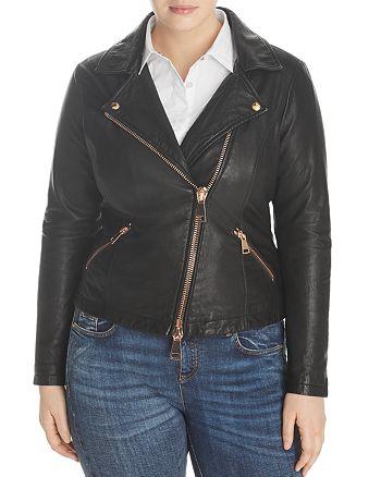 Marina Rinaldi - x Ashley Graham Ebanista Leather Moto Jacket