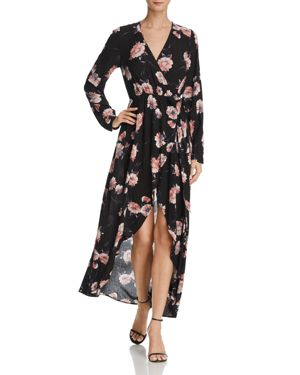 Cotton Candy La Floral Print Maxi Wrap Dress