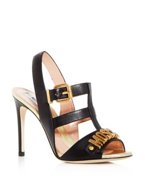 WOMEN'S LOGO LEATHER CAGED HIGH-HEEL SANDALS