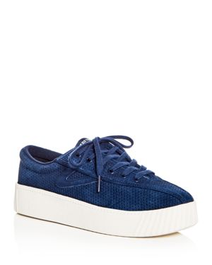 WOMEN'S NYLITE BOLD PERFORATED NUBUCK LEATHER LACE UP PLATFORM SNEAKERS