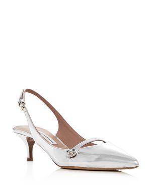 Tabitha Simmons Women's Layton Leather Slingback Kitten Heel Pumps 2846022