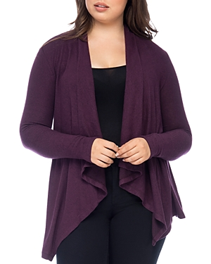 New B Collection by Bobeau Curvy Ami Open Waterfall Cardigan, Berry