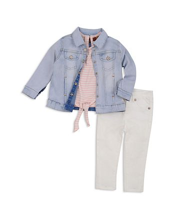 7 For All Mankind - Girls' Jean Jacket, Tie-Front Tee & White Jeans Set - Baby