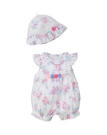 Little Me - Girls' Floral Sunsuit & Hat Set - Baby