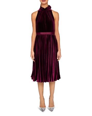 $Ted Baker Cornela Pleated Velvet Midi Dress - Bloomingdale's