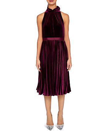 Ted Baker - Cornela Pleated Velvet Midi Dress