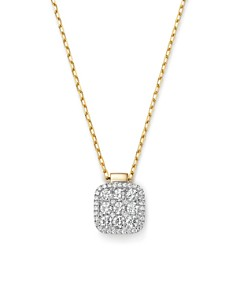 Frederic Sage - 18K Yellow & White Gold Diamond Firenze Medium Cushion Pendant Necklace, 18""
