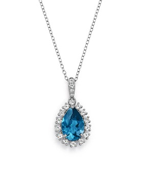 """Bloomingdale's - London Blue Topaz & Diamond Pendant Necklace in 14K White Gold, 18"""" - 100% Exclusive"""