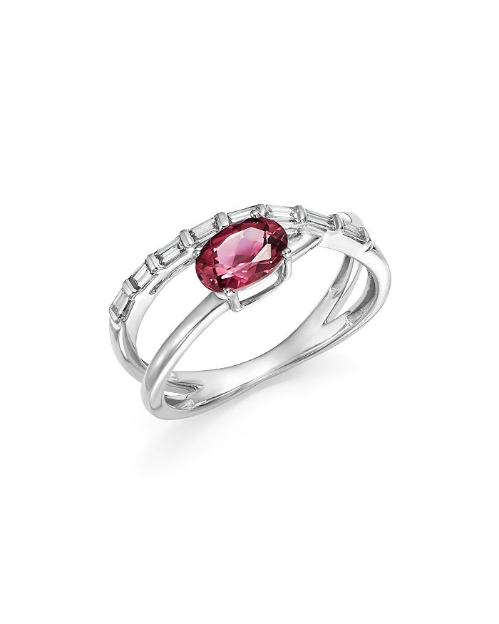 Bloomingdale's - Pink Tourmaline & Diamond Crossover Ring in 14K White Gold - 100% Exclusive