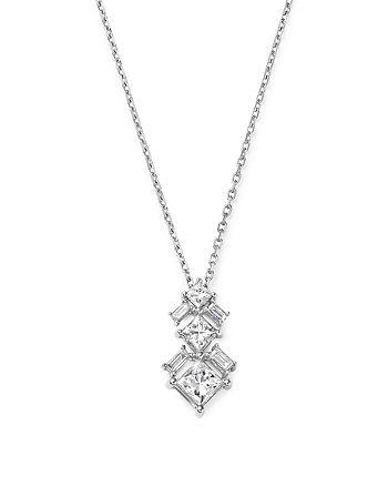 Bloomingdale's - Princess-Cut Diamond & Baguette Pendant Necklace in 14K White Gold, 0.65 ct. t.w. - 100% Exclusive