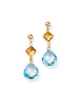 Bloomingdale's - Blue Topaz & Citrine Drop Earrings in 14K Yellow Gold - 100% Exclusive
