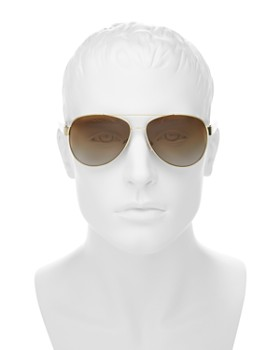 Burberry - Men's Polarized Brow Bar Aviator Sunglasses, 60mm