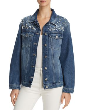IMITATION PEARL EMBELLISHED DENIM JACKET
