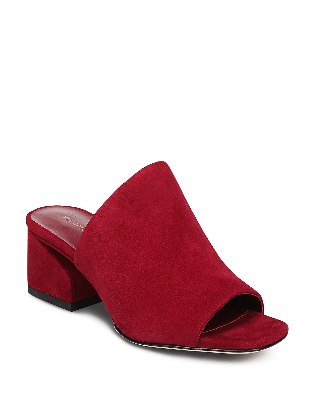 Cheap Sale Comfortable Via Spiga Women's Porter Leather Block Heel Slide Sandals Free Shipping Shop Sale Recommend PuLxpRW68