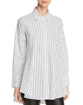 Donna Karan - Pinstriped Button-Down Tunic Top