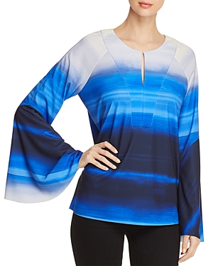 Donna Karan New York Printed Bell Sleeve Keyhole Top