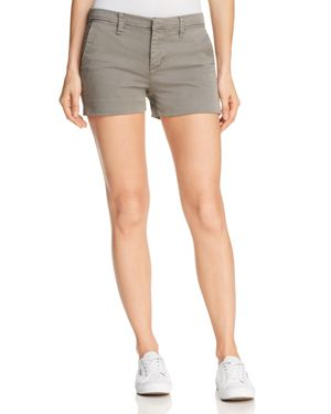 Clara Mid-Rise Luxe Twill Shorts in Gray