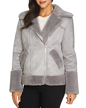 1.state Faux Shearling Collar Moto Jacket