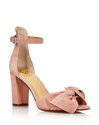 521b5d80f2a VINCE CAMUTO - Women s Carrelen Suede Bow Block Heel Sandals - 100%  Exclusive