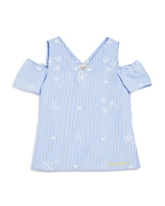 Armani Junior - Girls' Striped Embroidered Poplin Top - Big Kid