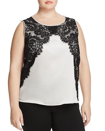 Marina Rinaldi - Bellezza Lace-Overlay Top