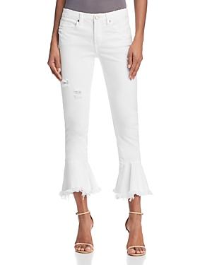 Blanknyc Ruffle-Hem Distressed Skinny Jeans in Great White