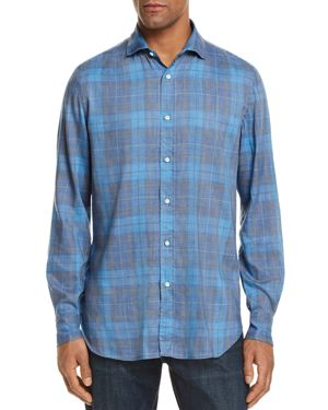 EIDOS MADRAS PLAID WASHED REGULAR FIT BUTTON-DOWN SHIRT