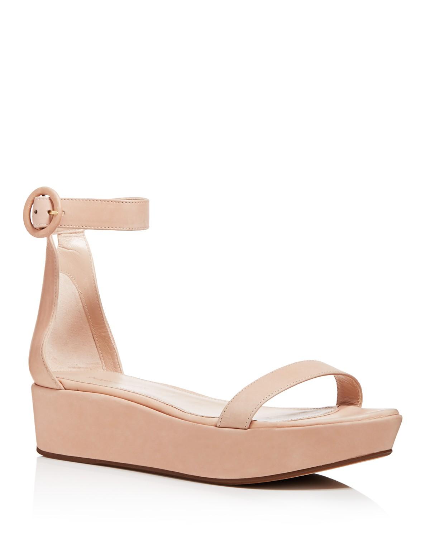 Stuart Weitzman Women's Capri Leather Platform Ankle Strap Sandals TDNs6Emr