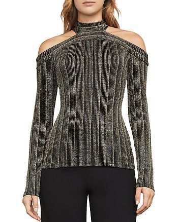 BCBGMAXAZRIA - Metallic Cold-Shoulder Rib-Knit Top