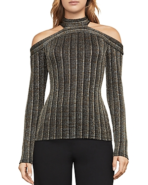 Bcbgmaxazria Metallic Cold-Shoulder Rib-Knit Top