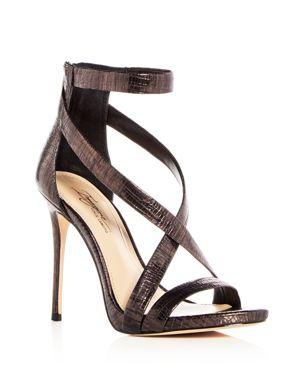 Imagine Vince Camuto Women's Devin Lizard Embossed Leather Crisscross High-Heel Sandals 2828637