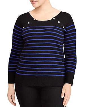 Lauren Ralph Lauren Plus Striped Button Sweater