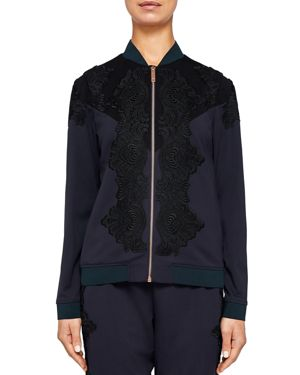 TED SAYS RELAX SADIET LACE-DETAIL BOMBER JACKET