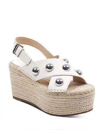 81f5479e5c00 Marc Fisher LTD. - Women s Rella Leather Embellished Platform Wedge  Espadrille Sandals
