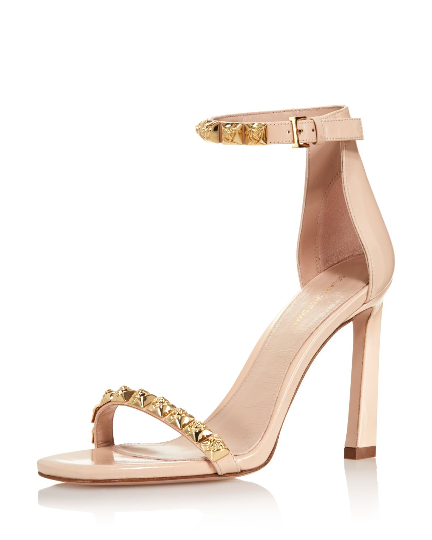 Stuart Weitzman Women's 100Rosist Studded Leather Ankle Strap Sandals