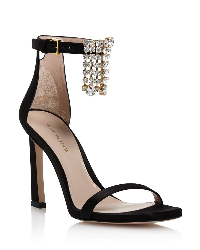 867544872fb2 Stuart Weitzman - Women s 100Fringesquarenudist Satin Embellished High-Heel  Ankle Strap Sandals
