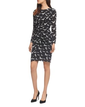 Maria Crane Print Stretch-Silk Dress, Black/White