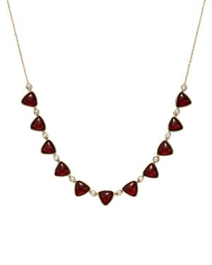 OLIVIA B 14K YELLOW GOLD GARNET CABOCHON & DIAMOND FRONTAL NECKLACE, 16 - 100% EXCLUSIVE