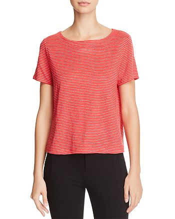 Eileen Fisher Petites - Bateau Striped Boat-Neck Tee